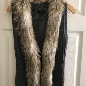 Guess faux fur vest.  Size Small in grey and cream